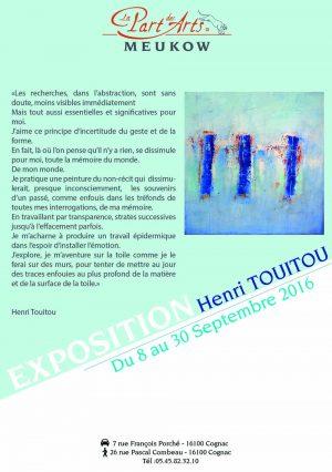Exposition d'Henri Touitou à l'Espace Guyenne