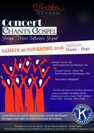 Concert de chants Gospel le 26 Novembre 2016 à 19H00 à l'Espace Guyenne