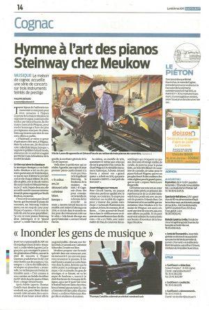 Sud-Ouest – édition du 8 mai 2017 – Hymne à l'art des pianos Steinway chez Meukow